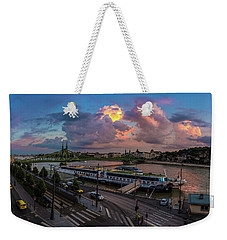 Pink Clouds Above The Danube, Budapest Weekender Tote Bag