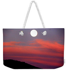 Pink Clouds With Moon Weekender Tote Bag by Joseph Frank Baraba