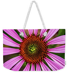 Weekender Tote Bag featuring the photograph Pink Cornflower by Joann Copeland-Paul