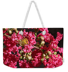Weekender Tote Bag featuring the photograph Pink Crepe Myrtle Flowers by Debi Dalio