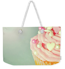 Weekender Tote Bag featuring the photograph Pink Cupcake With Lovehearts by Lyn Randle