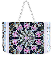 Weekender Tote Bag featuring the photograph Pink Deco Medallion by Shirley Moravec