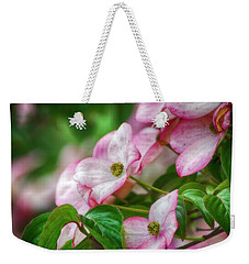 Weekender Tote Bag featuring the photograph Pink Dogwood by Bonnie Bruno