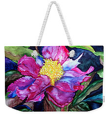 Weekender Tote Bag featuring the painting Pink Drama by Lil Taylor