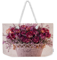 Pink Dried Roses Floral Arrangement Weekender Tote Bag