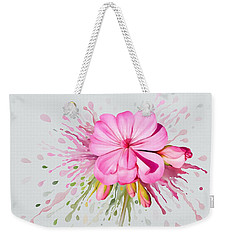 Weekender Tote Bag featuring the painting Pink Eruption by Ivana Westin