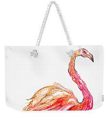 Pink Flamingo Bird Weekender Tote Bag