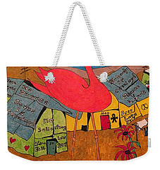 Pink Flamingo Camp Weekender Tote Bag