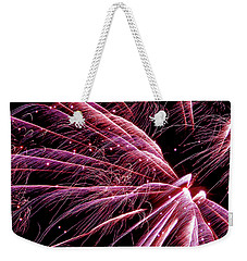 Weekender Tote Bag featuring the photograph Pink Flamingo Fireworks #0710 by Barbara Tristan