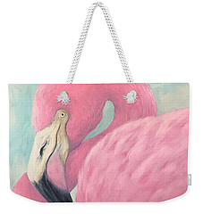 Pink Flamingo V Weekender Tote Bag
