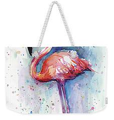 Pink Flamingo Watercolor Weekender Tote Bag