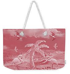 Pink Flamingo's Palms Weekender Tote Bag