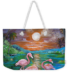 Weekender Tote Bag featuring the painting Pink Flamingos by Patrice Torrillo