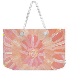 Weekender Tote Bag featuring the painting Pink Flower by Artists With Autism Inc