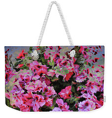 Weekender Tote Bag featuring the photograph Pink Flower Fantasy by Ann Powell