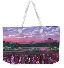 Weekender Tote Bag featuring the painting Pink Flower Field by Anastasiya Malakhova