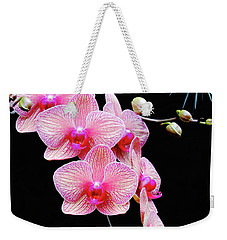Pink Flowers Pink Vein Black Background Weekender Tote Bag