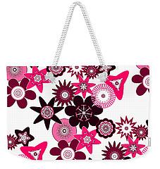 Pink Funky Flowers Weekender Tote Bag by Methune Hively