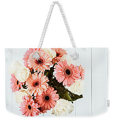 Pink Gerbera Daisy Flowers And White Roses Bouquet Weekender Tote Bag by Radu Bercan