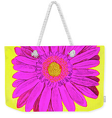 Pink Gerbera On Yellow, Watercolor Weekender Tote Bag