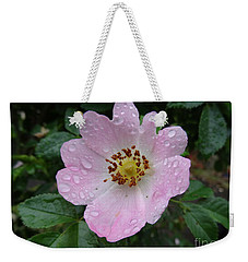 Pink Heart Petal Rose With Raindrops Weekender Tote Bag
