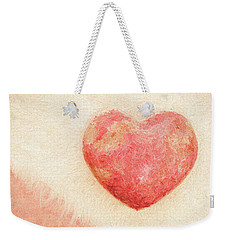 Weekender Tote Bag featuring the photograph Pink Heart Soft And Painterly by Carol Leigh
