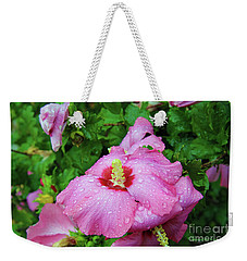 Pink Hibiscus After Rain Weekender Tote Bag