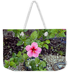 Pink Hibiscus And Wheel Weekender Tote Bag