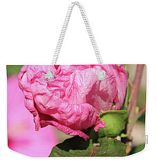 Pink Hibiscus Bud Weekender Tote Bag by Inspirational Photo Creations Audrey Woods