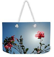 Pink Hibiscus Flowers Weekender Tote Bag by Tetyana Kokhanets