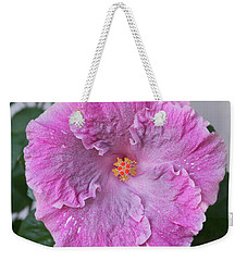 Pink Hibiscus Weekender Tote Bag by Loriannah Hespe