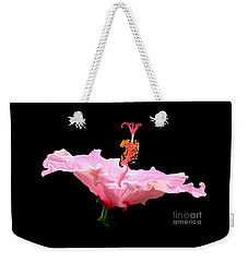 Weekender Tote Bag featuring the photograph Pink Hibiscus With Curlicue Effect by Rose Santuci-Sofranko