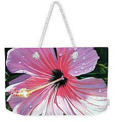 Pink Hibiscus With Raindrops Weekender Tote Bag by Marionette Taboniar