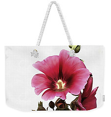 Pink Hollyhock Weekender Tote Bag by Tracey Harrington-Simpson