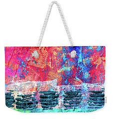 Weekender Tote Bag featuring the painting Pink Horizon by Nancy Merkle