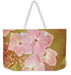 Weekender Tote Bag featuring the photograph Pink Hydrangeas by Lyn Randle