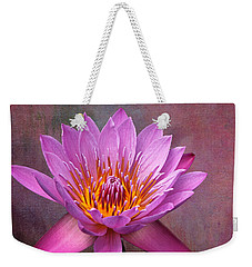 Weekender Tote Bag featuring the photograph Pink Lady by Judy Vincent