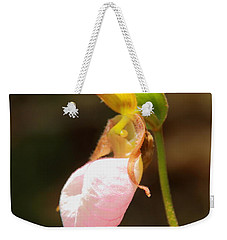 Weekender Tote Bag featuring the photograph Pink Lady Slipper by Roupen  Baker