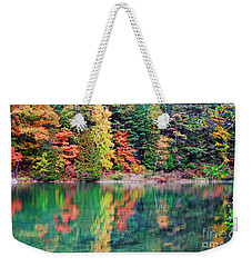 Pink Lake Fall Color Reflections Weekender Tote Bag by Charline Xia