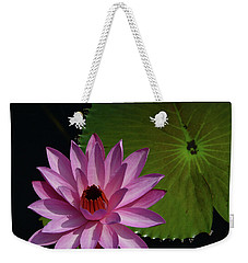 Weekender Tote Bag featuring the photograph Pink Lotus by Evelyn Tambour