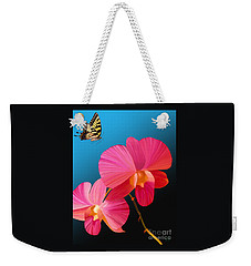 Pink Lux Butterfly Weekender Tote Bag by Rand Herron