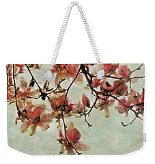 Pink Magnolia Blossoms Weekender Tote Bag by Patricia Strand