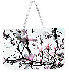 Weekender Tote Bag featuring the photograph Pink Magnolia - In Black And White  by Janine Riley