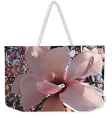 Pink Magnolia In Full Bloom Weekender Tote Bag by Dora Sofia Caputo Photographic Art and Design