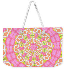 Weekender Tote Bag featuring the photograph Pink Medallion by Shirley Moravec
