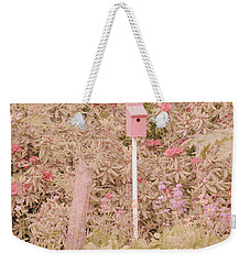 Weekender Tote Bag featuring the photograph Pink Nesting Box by Bonnie Bruno