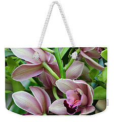 Weekender Tote Bag featuring the photograph Pink Orchids 2 by Ann Bridges