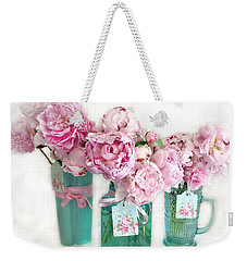 Weekender Tote Bag featuring the photograph Pink Peonies In Aqua Vases Romantic Watercolor Print - Pink Peony Home Decor Wall Art by Kathy Fornal