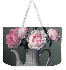 Pink Peonies In White Coffeepot Weekender Tote Bag