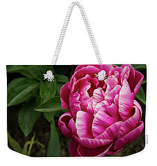 Weekender Tote Bag featuring the photograph Pink Peony by Jean Noren